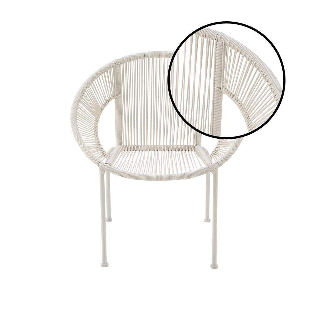 Internet #302901385. Litton Lane White Tin And Rattan Round Chair