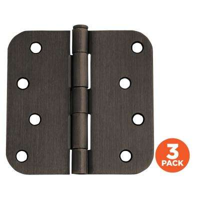 4 in. x 5/8 in. Radius Oil Rubbed Bronze Door Hinge Value Pack (3 per Pack)