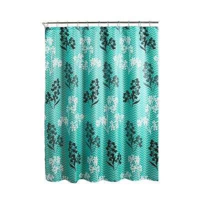 Diamond Weave Textured 70 in. W x 72 in. L Shower Curtain with Metal Roller Rings in Whimsy Leaves Turquoise