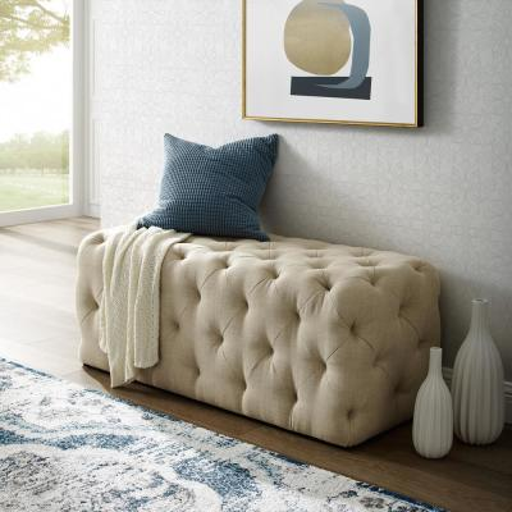 Norman Beige Linen Tufted Allover Upholstered Bench