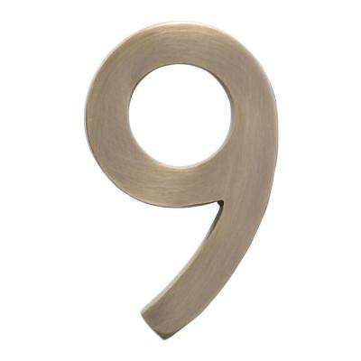 5 in. Antique Brass Floating House Number 9