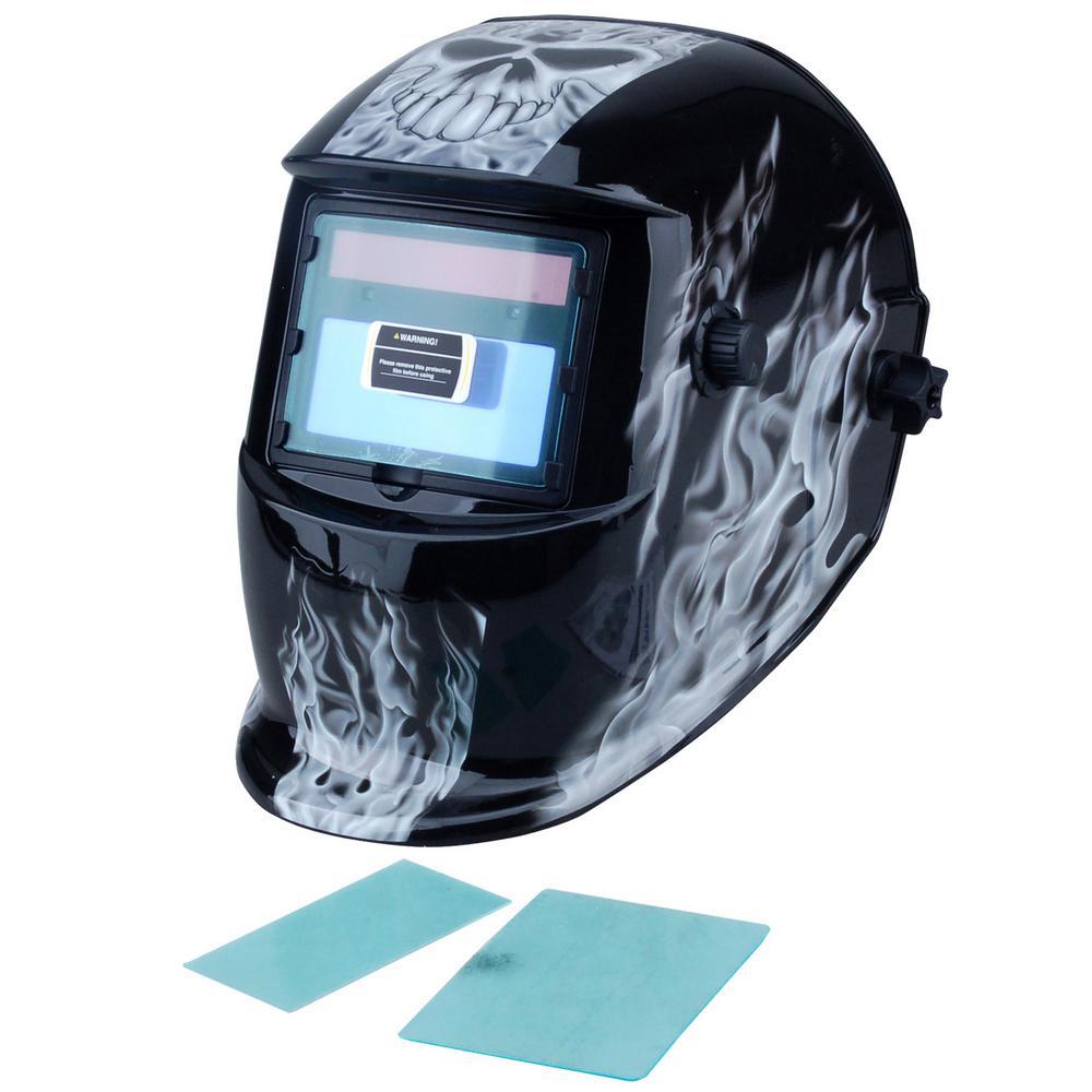 Adjustable Auto-Darkening Welding Helmet with Skull Design