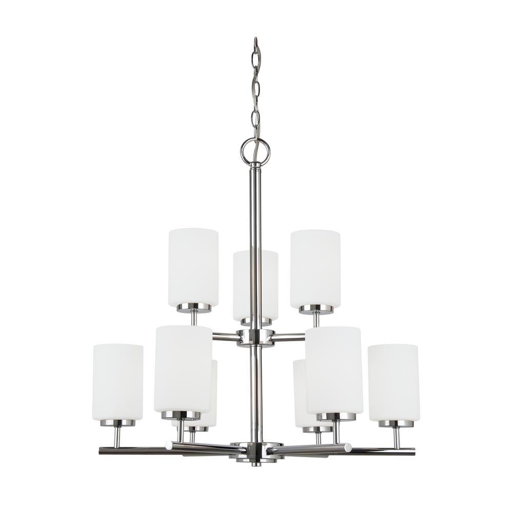 Beldi portland 5 light chrome chandelier white fabric shade 5 oslo 9 light chrome chandelier with led bulbs arubaitofo Images