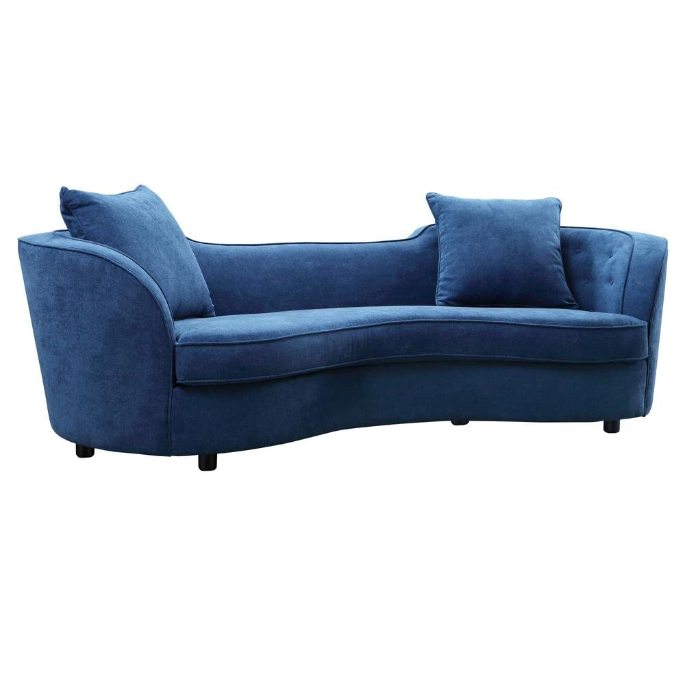 Armen Living Blue Velvet Contemporary Sofa with Brown Wood Legs