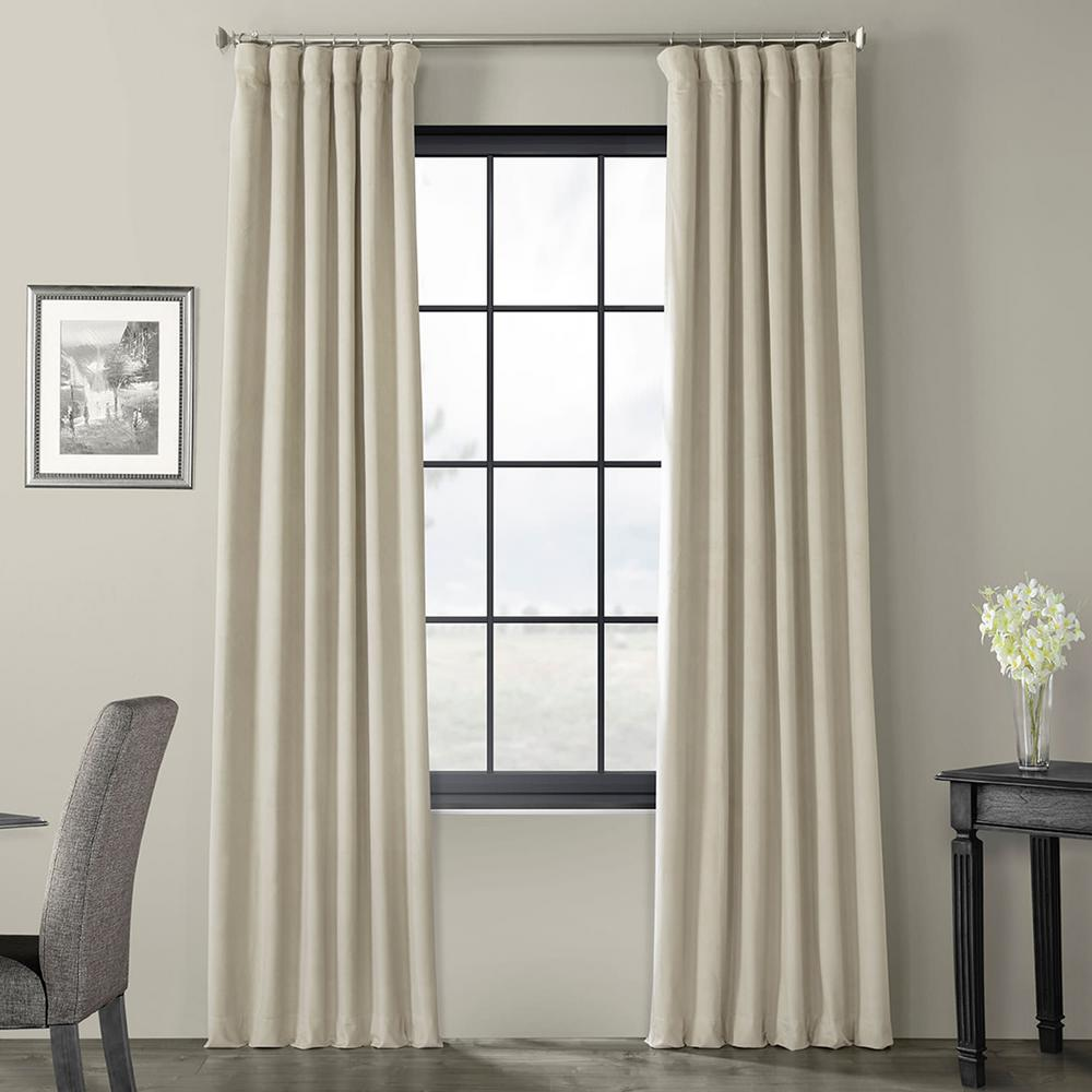Exclusive Fabrics & Furnishings Blackout Signature Cool Beige Blackout Velvet Curtain - 50 in. W x 96 in. L (1 Panel)
