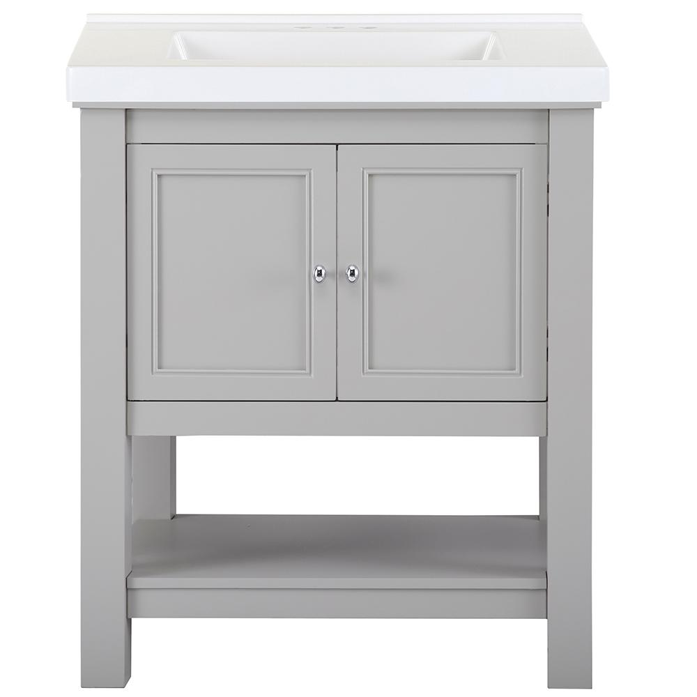 Home Decorators Collection Gazette 31 in. W x 22 in. D Bath Vanity in Grey with Cultured Marble Vanity Top in White with White Sink was $769.0 now $461.4 (40.0% off)