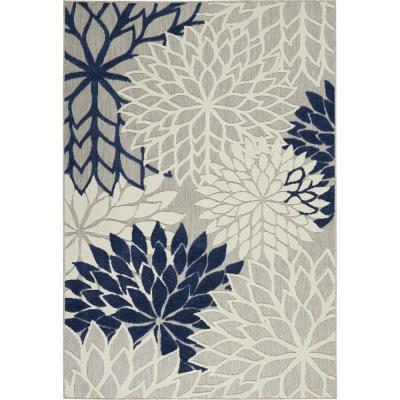 Aloha Ivory/Navy 7 ft. 10 in. x 10 ft. 6 in. Indoor/Outdoor Area Rug