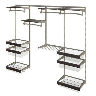 Closet Culture 16 in. D x 96 in. W x 78 in. H  with 4 Espresso Wood Shelves Steel Closet System