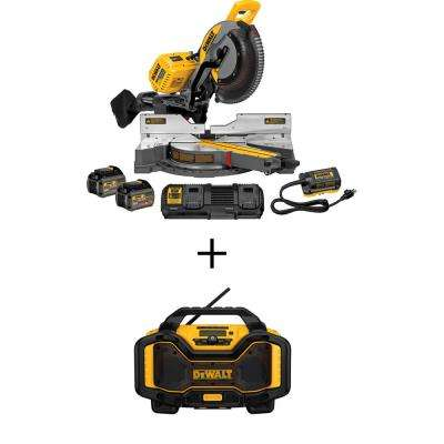 FLEXVOLT 120-Volt MAX Lithium-Ion Cordless 12 in. Double Bevel Sliding Brushless Miter Saw Kit with Bonus Radio
