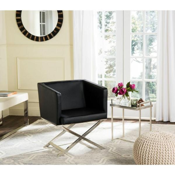 Safavieh Celine Black Bonded Leather Arm Chair