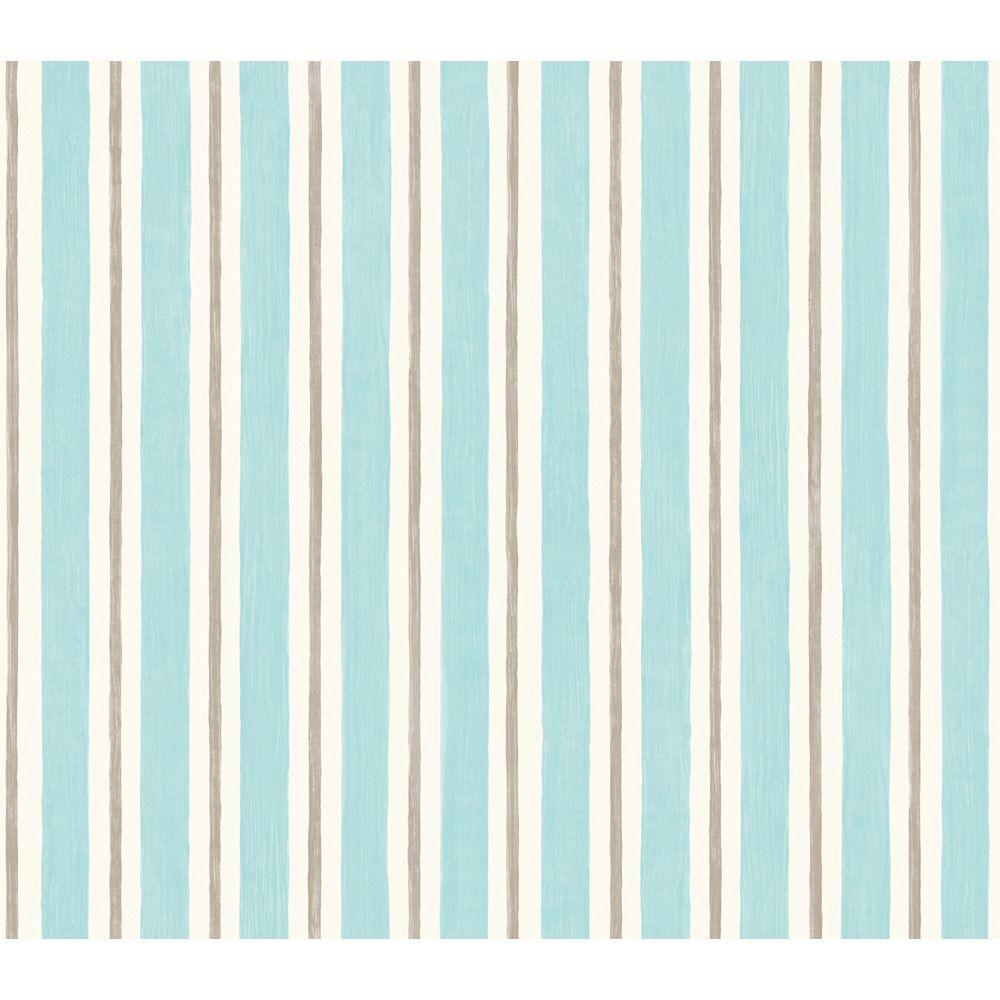 The Wallpaper Company 56 sq. ft. Turquoise Textural Stripe Wallpaper