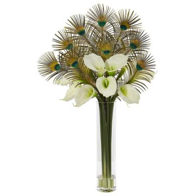 36 in. Peacock and Calla Lily Artificial Arrangement in Cylinder Glass