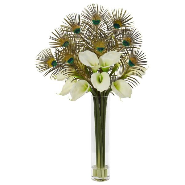 Nearly Natural 36 in. Peacock and Calla Lily Artificial Arrangement in