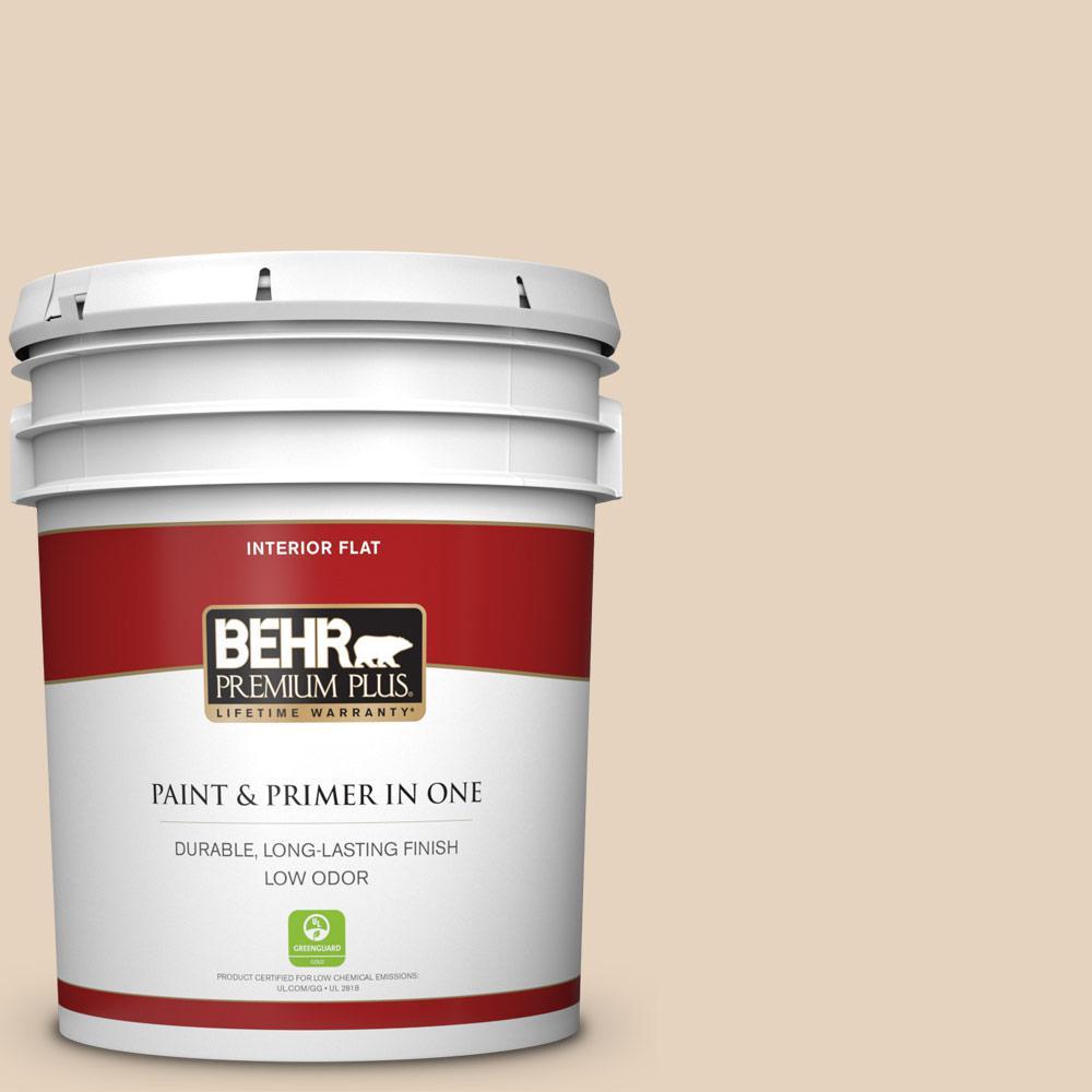 Behr Premium Plus 5 Gal Ppf 22 Inviting Veranda Flat Low Odor Interior Paint And Primer In One 105005 The Home Depot