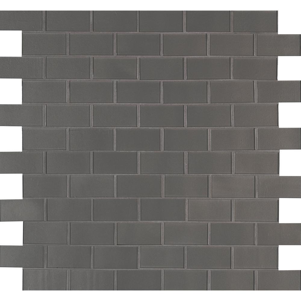 Metallic Gray Subway 11.81 in. x 11.81 in. x 8mm Glass Mesh-Mounted Mosaic Tile (9.70 sq. ft. / case)