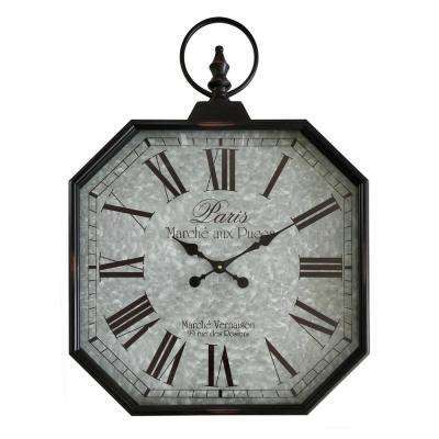 23 in. x 2.75 in. x 32 in. Metal Wall Clock in Black