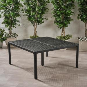 Tahoe 29 in. Antique Matte Black Square Aluminum Outdoor Dining Table