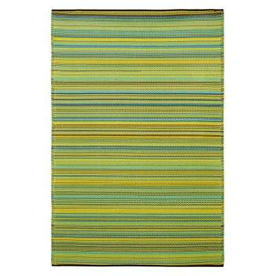 Cancun Indoor/Outdoor Lemon and Apple Green 6 ft. x 9 ft. Area Rug