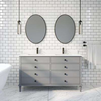 Flynn 60 in. W x 22 in. D Bath Vanity in Gray ENGRD Stone Vanity Top in White with White Basin Power Bar and Organizer