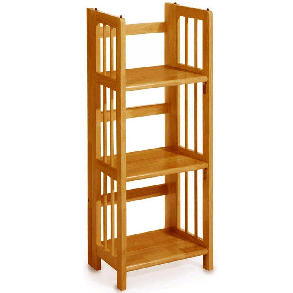 Home Decorators Collection Honey Oak Folding Stacking Open Bookcase 3323200830 The Home Depot