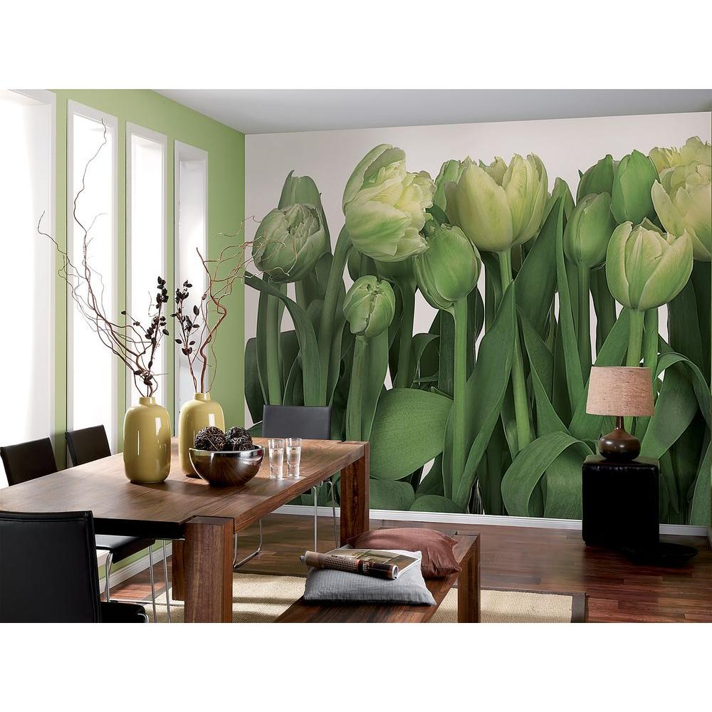 Tulip Rose Wall Art Painting For Kitchen Room Golden: Komar 100 In. X 145 In. Tulips Wall Mural-8-900