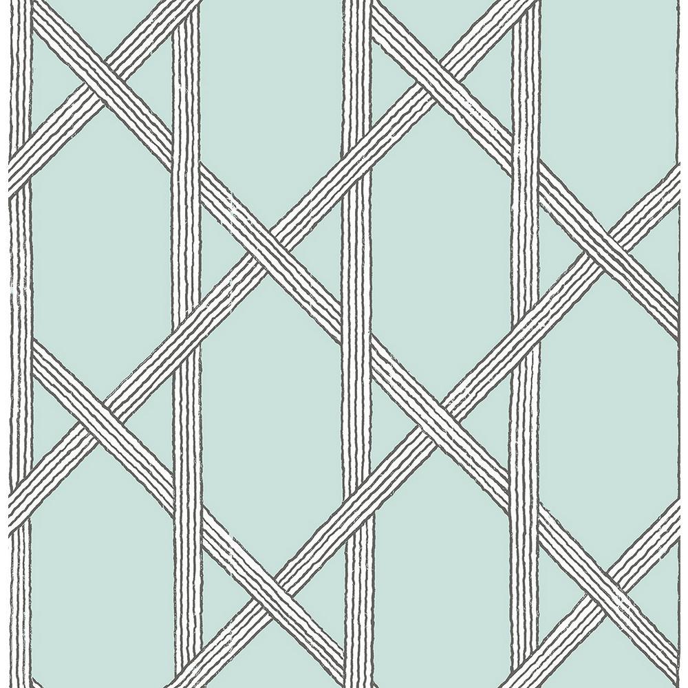 Mandara Light Blue Trellis Wallpaper Sample