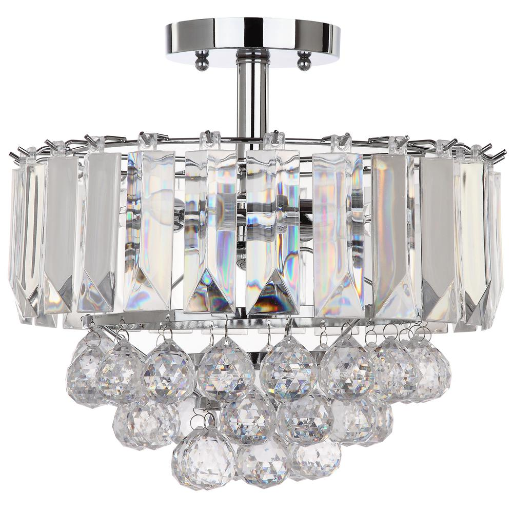 Safavieh Vaxcel 13 5 In 3 Light Chrome Clear Acrylic Flush Mount