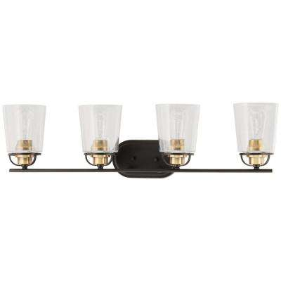 Inspiration Collection 4-Light Antique Bronze Vanity Light with Clear Seeded Glass Shades