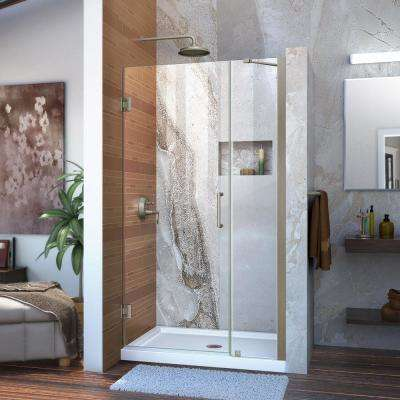 Unidoor 40 to 41 in. x 72 in. Frameless Hinged Shower Door in Brushed Nickel