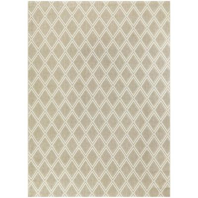 Basket Weave Biscuit Beige 8 ft. x 10 ft. Trellis Indoor/Outdoor Area Rug