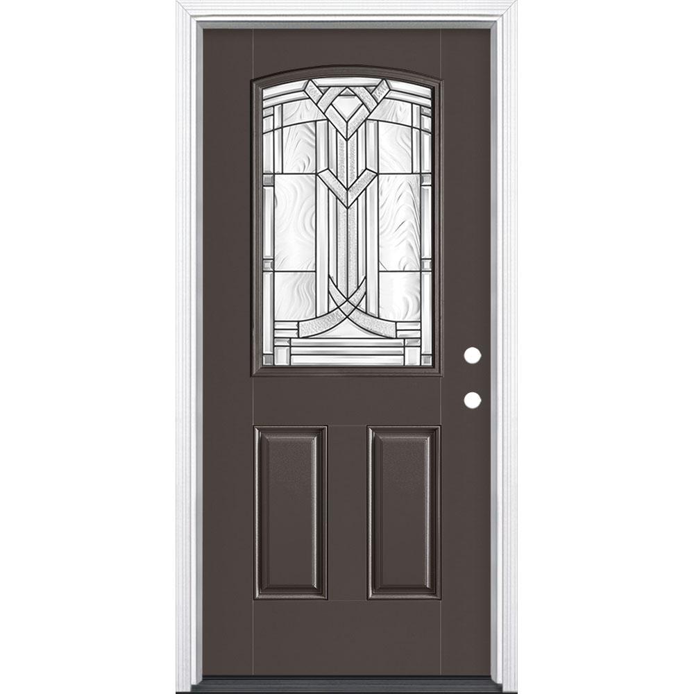 Masonite 36 in. x 80 in. Chatham Camber Top Half Lite Left Hand Painted Fiberglass Prehung Front Door w/ Brickmold, Wood Frame