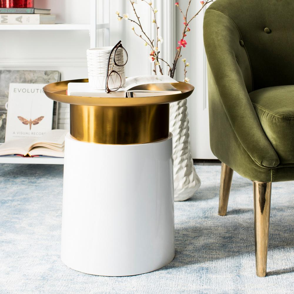 Safavieh Zenith White And Gold Side Table