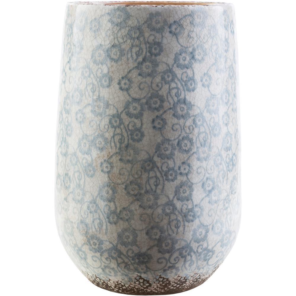 Draven 17.9 in. Ceramic Decorative Vase in Blue