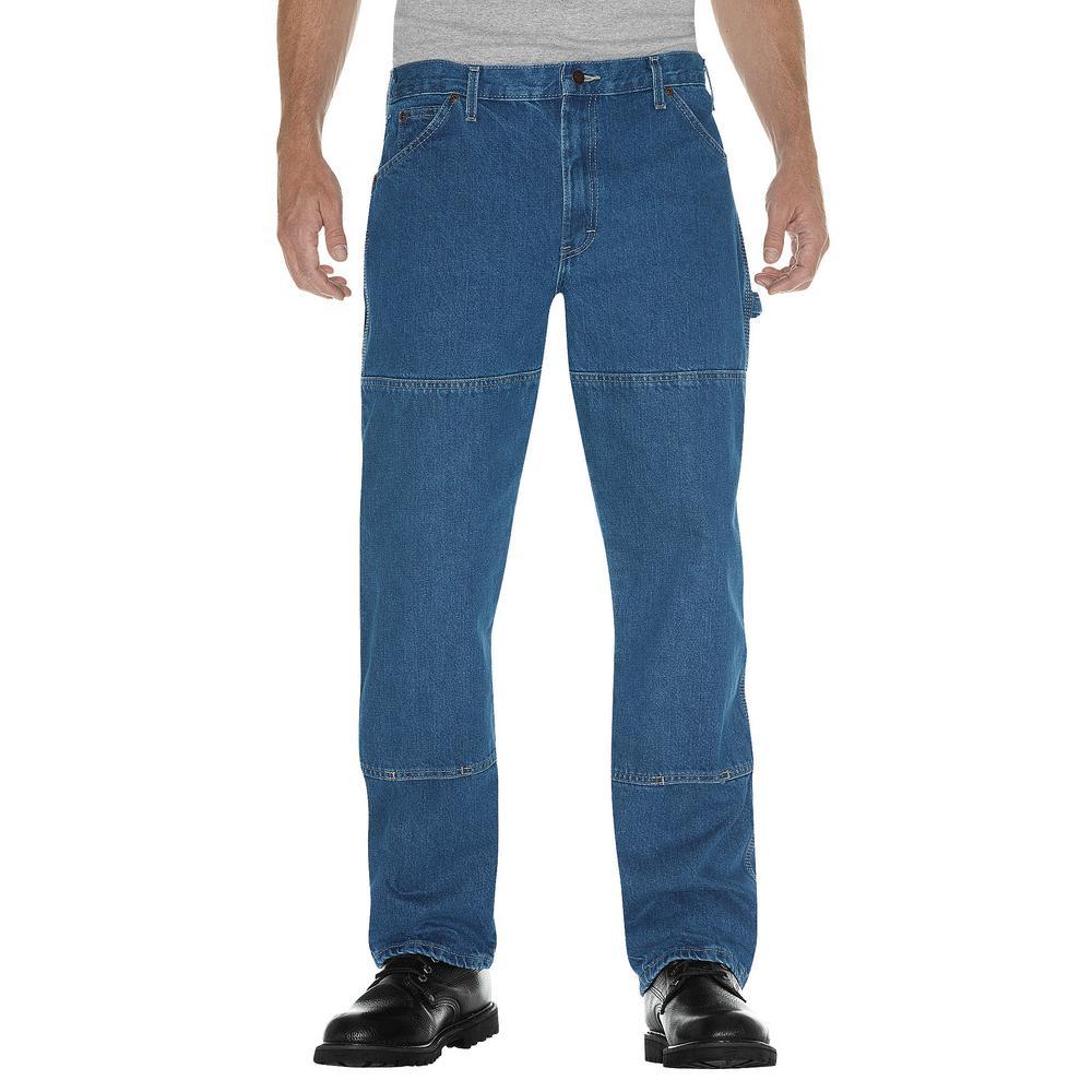 Men's 38 in. x 30 in. Stonewashed Men's 38 in. x 30 in. Indigo Blue Relaxed Fit Double Knee Carpenter Denim Jean