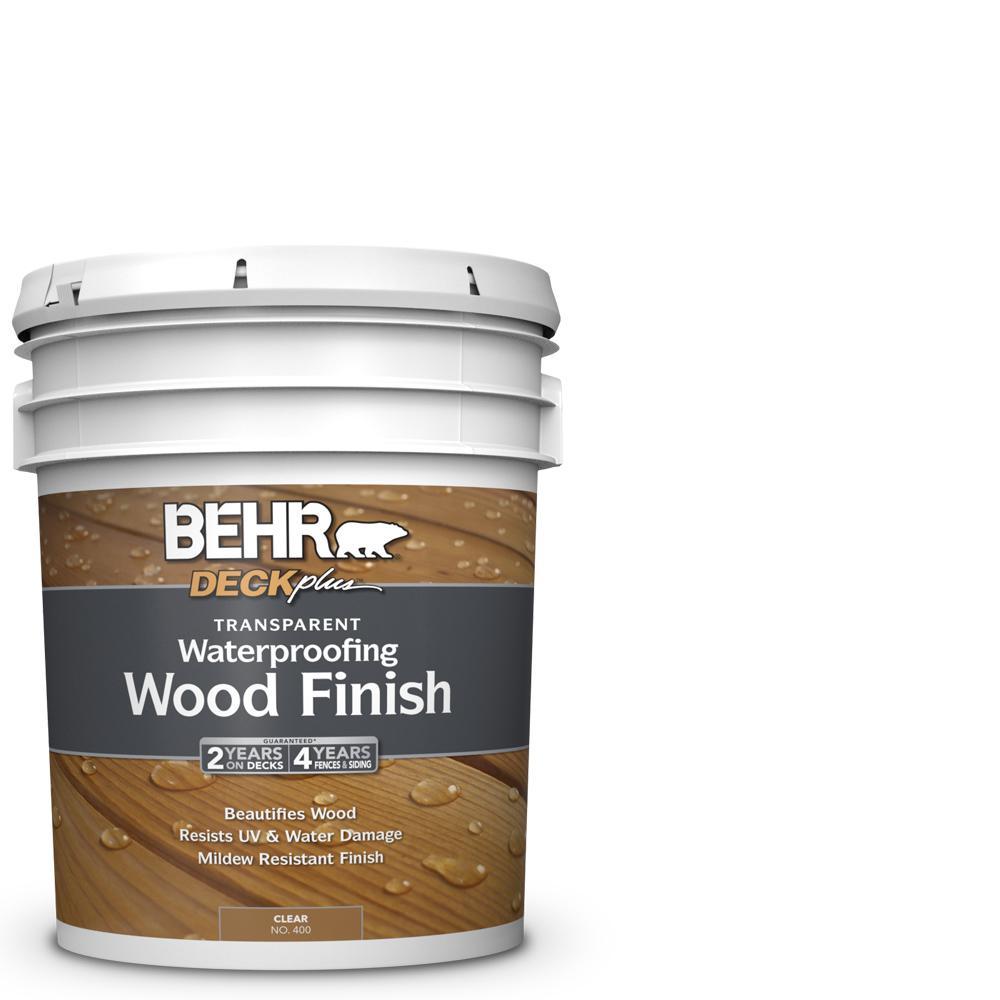 Exterior Wood Stain Natural: BEHR DECKplus 5 Gal. Natural Clear Transparent