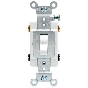 leviton 20 amp commercial double-pole toggle switch, white