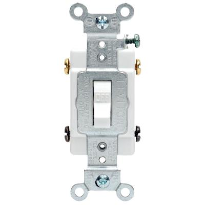20 Amp Commercial Double-Pole Toggle Switch, White