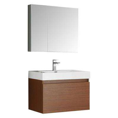 Mezzo 30 in. Vanity in Teak with Acrylic Vanity Top in White with White Basin and Mirrored Medicine Cabinet