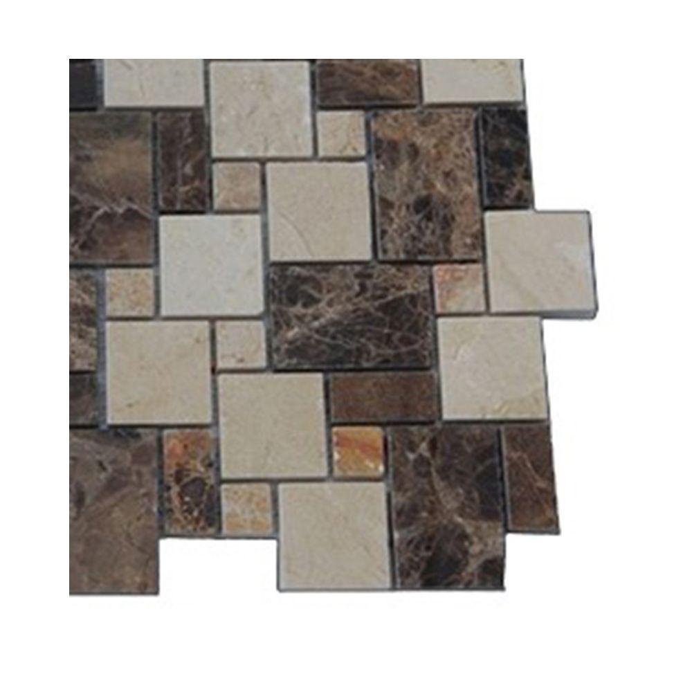 Splashback Tile Parisian Crema Marfil And Dark Emperador Blend 3 In X 6