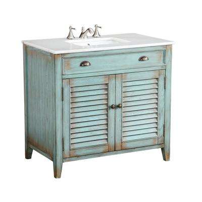 Palm Beach 36 in. W x 21.75 in. D Vanity in Distressed Blue with Marble Vanity Top in White with White Basin
