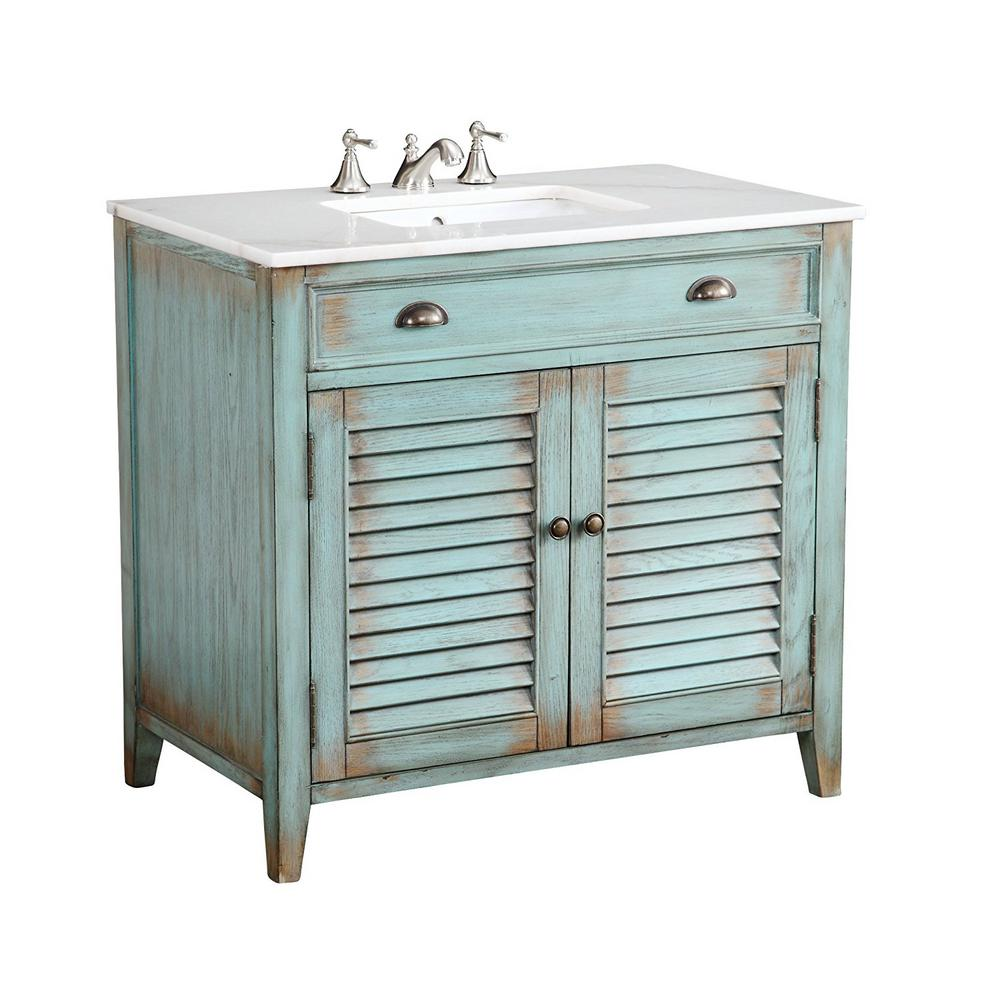 Palm Beach 36 In. W X 21.75 In. D Vanity In Distressed Blue With