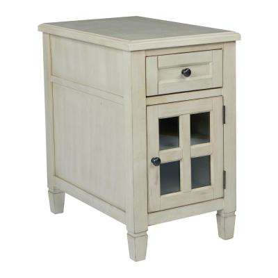 Drayton Antique Beige Side Table with Power
