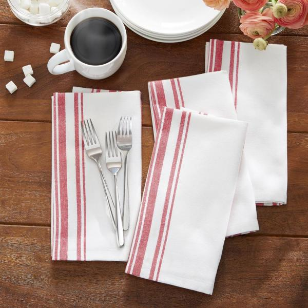 Farmhouse Living Homestead Stripe 20 in. x 20 in. Red/White Napkins (4-Pack)