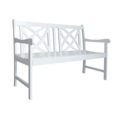 Bradley 4 ft. White Acacia Outdoor Bench