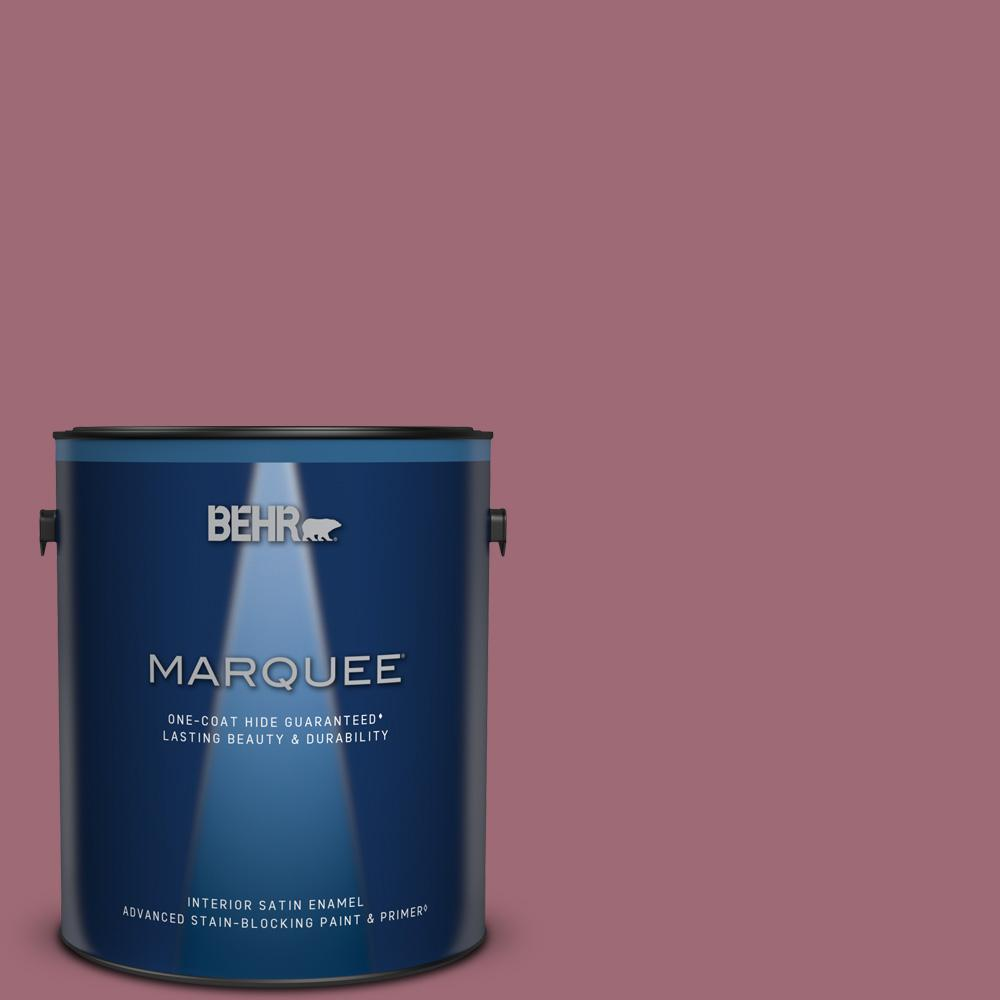 Behr Marquee 1 Gal 100d 5 Berries And Cream Satin Enamel Interior Paint And Primer In One 745301 The Home Depot