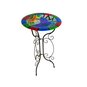 Alpine 18 inch Glow in the Dark Glass Butterfly Birdbath by Alpine