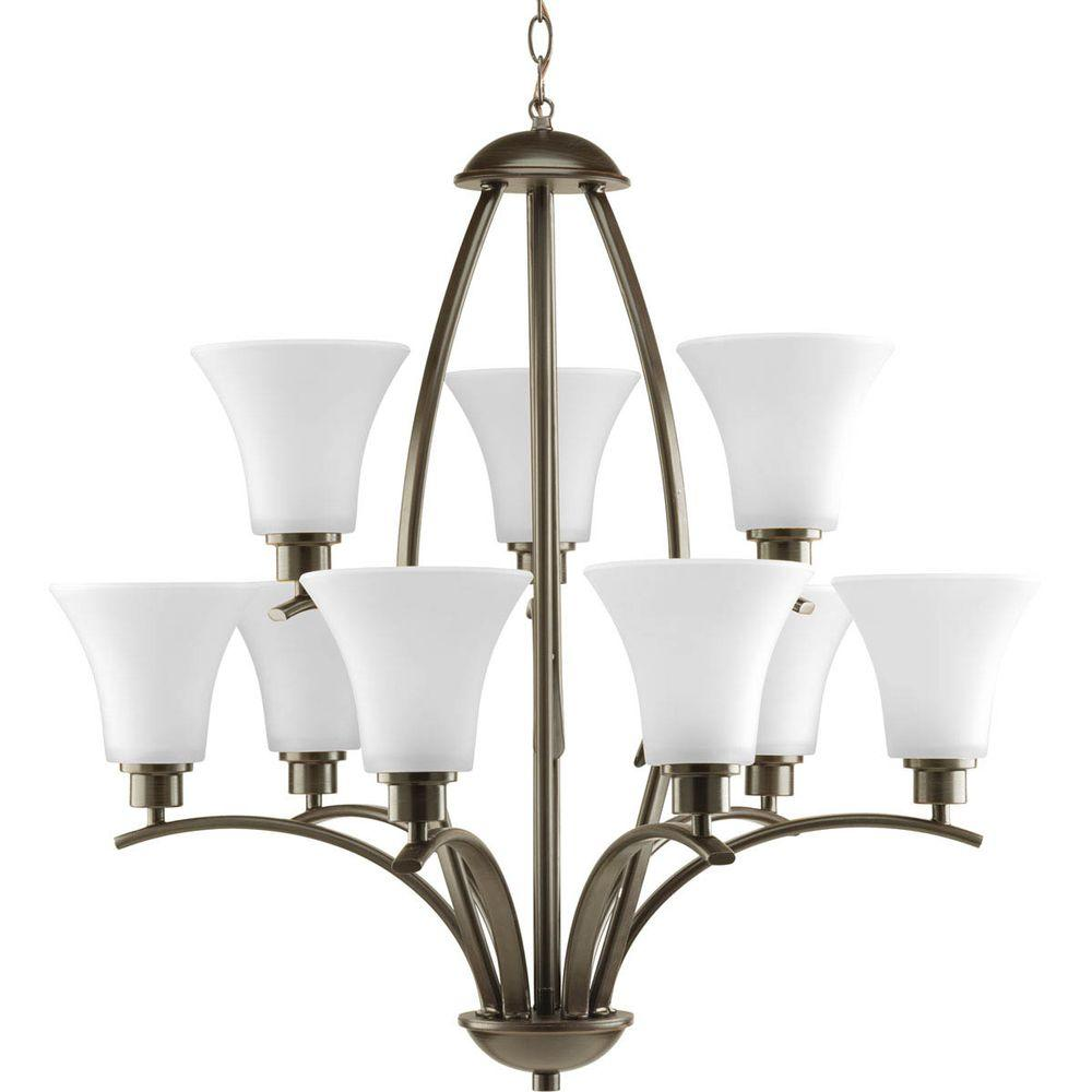 Progress lighting bravo collection 12 light antique bronze joy collection 9 light antique bronze chandelier with etched white glass arubaitofo Image collections