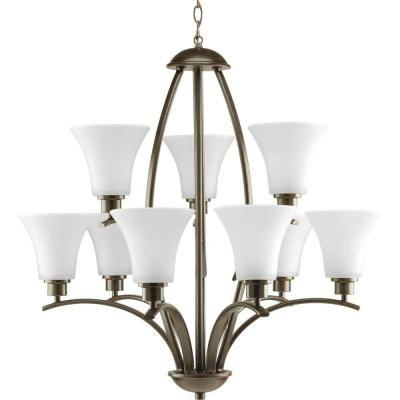 Joy Collection 9-Light Antique Bronze Chandelier with Etched White Glass