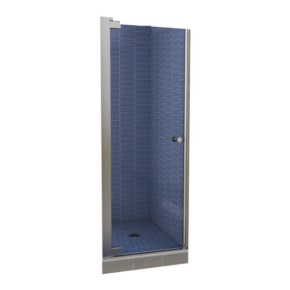 MAAX Insight 30-1/2 in. x 67 in. Swing-Open Semi-Framed Pivot Shower Door in Chrome with 6 MM Clear Glass