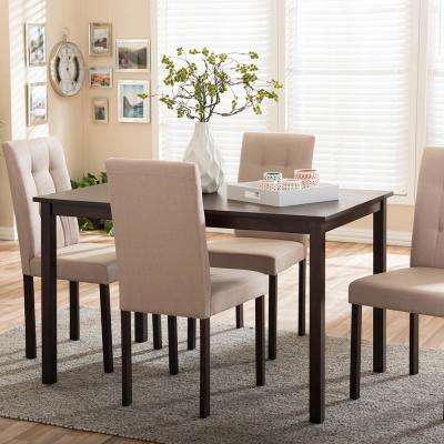 Andrew 9 Grids 5 Piece Beige Fabric Upholstered Dining Set